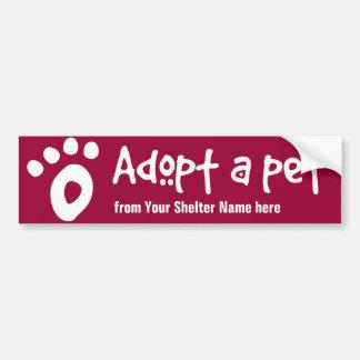 Adopte a un mascota del refugio pegatina para auto