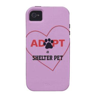 Adopte a un mascota del refugio vibe iPhone 4 fundas