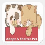 Adopte a un mascota del refugio pegatina cuadrada