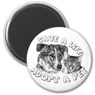 Adopte a un mascota imán redondo 5 cm