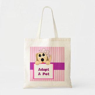 Adopte a un mascota, muestra adorable bolsas