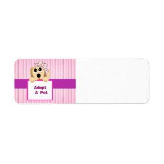 Adopte a un mascota muestra adorable etiquetas de remite