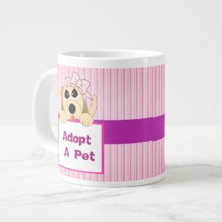 Adopte a un mascota, muestra adorable taza grande
