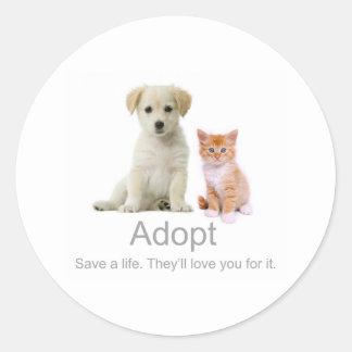 adopte a un mascota pegatina redonda