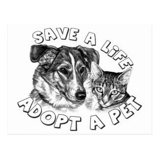 Adopte a un mascota postales