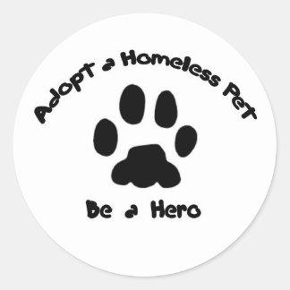 Adopte a un mascota sin hogar pegatinas redondas