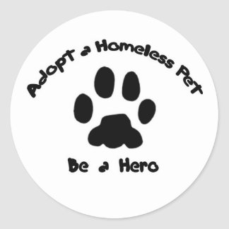 Adopte a un mascota sin hogar pegatina redonda