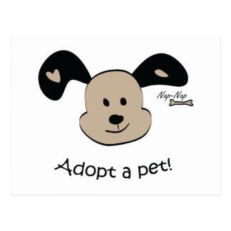 Adopte a un mascota tarjeta postal