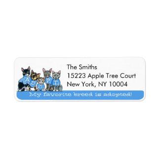 Adopte el azul Tagline de Art™ del Apagado-Correo Etiquetas De Remite