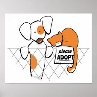 Adopte el remiendo y Rusty™ de los mascotas Póster