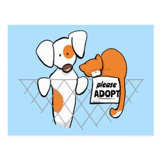 Adopte el remiendo y Rusty™ de los mascotas Tarjeta Postal