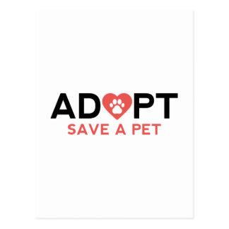 Adopte la reserva un mascota tarjeta postal