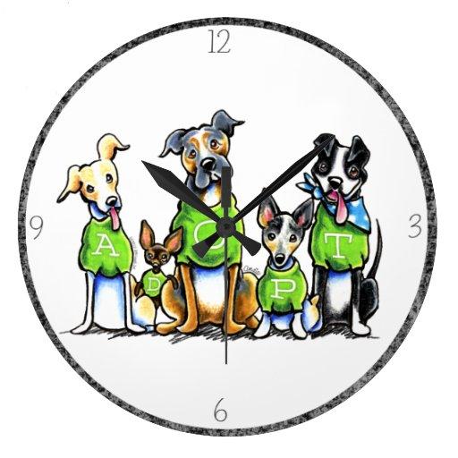 Adopte los perros del refugio que las camisetas ve relojes de pared