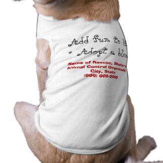 Adopte los perros rubios o blancos playera sin mangas para perro