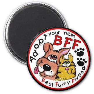 Adopte su rescate siguiente del BFF-Animal Imán Redondo 5 Cm