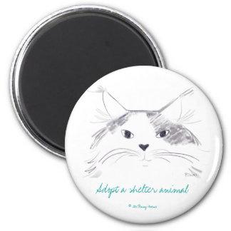 Adopte un animal del refugio imán redondo 5 cm