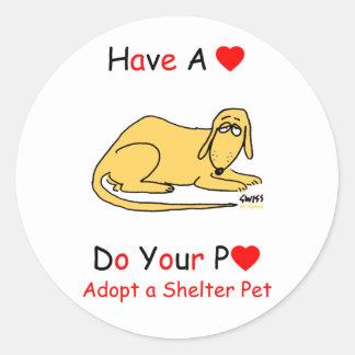 Adopte un animal del refugio pegatinas redondas