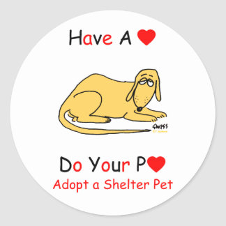 Adopte un animal del refugio pegatina redonda
