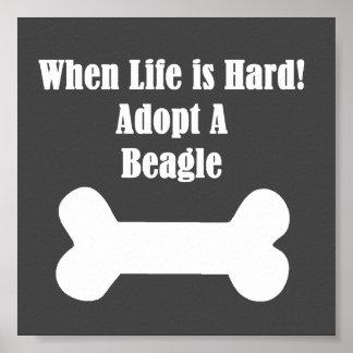 Adopte un beagle póster