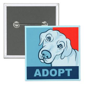 Adopte un botón del perro pin cuadrado