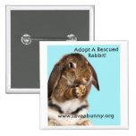 ¡Adopte un conejo rescatado! Pin Cuadrada 5 Cm