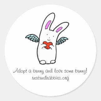 ¡Adopte un conejo y ame Somebunny! Pegatina Redonda