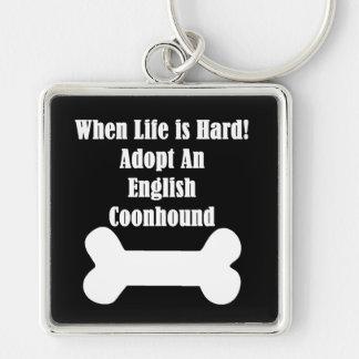 Adopte un Coonhound inglés Llavero Cuadrado Plateado