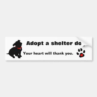 Adopte un diseño del perro del refugio pegatina de parachoque