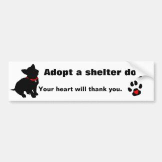 Adopte un diseño del perro del refugio pegatina para auto