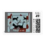 Adopte un franqueo del collage del multi-gato del