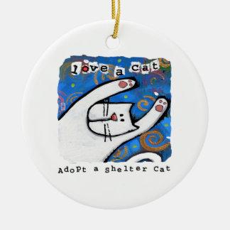 Adopte un gato del refugio, ame un gato ornamento de navidad