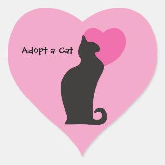 Adopte un gato pegatina corazon personalizadas
