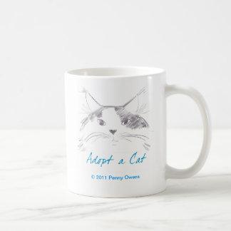 Adopte un gato taza de café