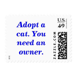 Adopte un gato. Usted necesita a un dueño Franqueo