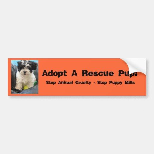 ¡Adopte un perrito del rescate! Etiqueta De Parachoque