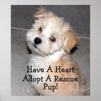 ¡Adopte un perrito del rescate! Póster