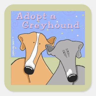 Adopte un perro del galgo pegatina cuadrada