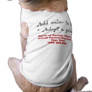 Adopte un perro del golden retriever playera sin mangas para perro
