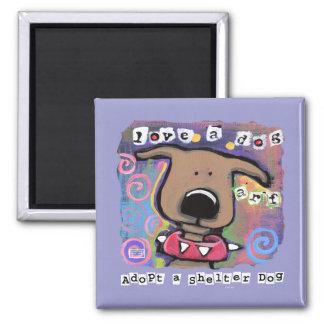 Adopte un perro del refugio ame un perro imán de nevera