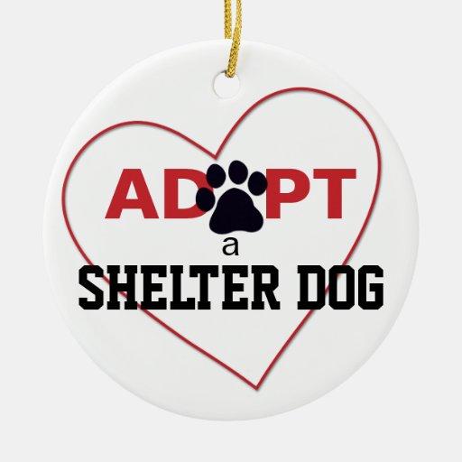 Adopte un perro del refugio adorno redondo de cerámica