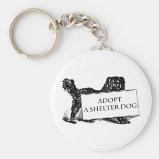 Adopte un perro del refugio llavero redondo tipo pin