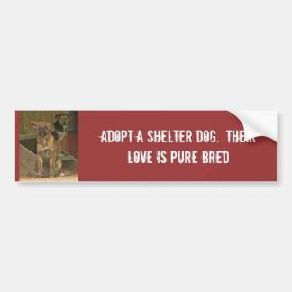 Adopte un perro del refugio.  Su amor es puro Pegatina De Parachoque