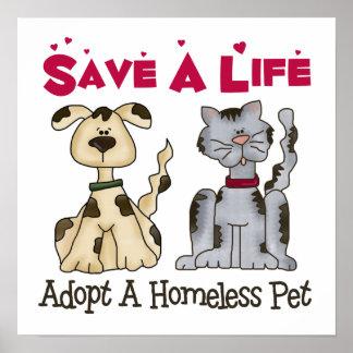 Adopte un poster sin hogar del mascota póster