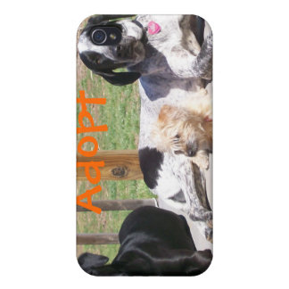 Adopte una caja de la mota del perro del refugio iPhone 4/4S carcasas