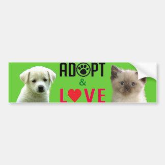 Adopte y ame a la pegatina para el parachoques etiqueta de parachoque