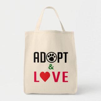 Adopte y ame el bolso de ultramarinos bolsas