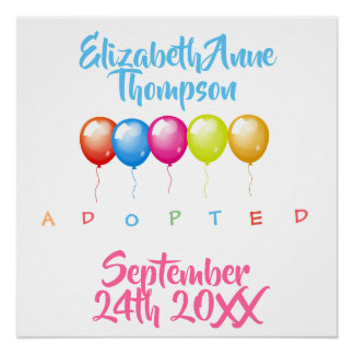 Adopted Baloons - Custom Name Date Poster