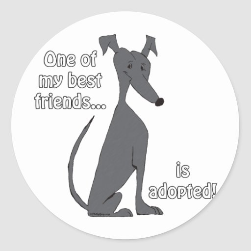 Adopted~Black Round Stickers