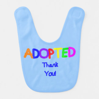 adopted Blue Thank You Baby Bib