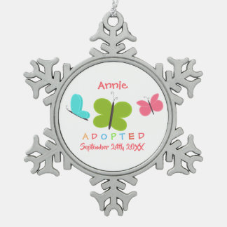 Adopted Butterfly Adoption - Custom Name Snowflake Pewter Christmas Ornament